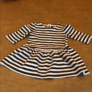 Black and White Stripe BabyGap flare dress 2T